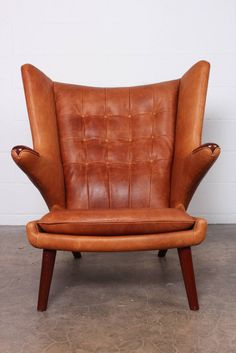 Leather Papa Bear Chair and Ottoman by Hans Wegner image 9