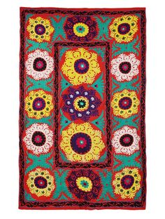 Buy Red Yellow Blue Black Cotton and Satin Textile with Vintage Suzani Embroidery Wool Thread Art Finds The Connoisseur's Pick Collectible embroidered textiles braided home accents raku pottery more Online at Jaypore.com