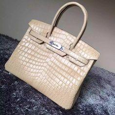 Hermes Birkin 30 35 Imported Crocodile Leather Bag Khaki(SHW) 4b88247874392