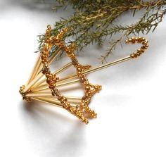 Vánoční deštníček zlatý