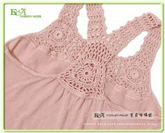 Notte Rosa filet crochet top pThis Pin was discovered by Diaimages attach c 5 85 for a racerbackracer back tank Crochet Yoke, Crochet Fabric, Crochet Girls, Crochet Blouse, Crochet Trim, Filet Crochet, Crochet For Kids, Diy Crochet, Hand Crochet