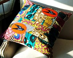 Africa Rich Patchwork pillow cover OOAK wax print cotton and linen - 18 x 18 inches