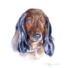 Portrait pet Memorial Dog portrait dachshund pet portrait