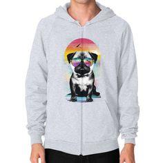 Summer Pug Zip Hoodie (on man)