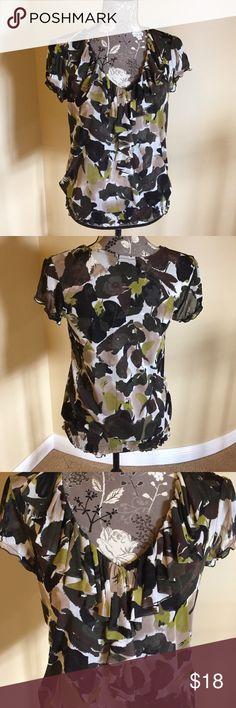 """INC top INC top size small. Ruffle detail around v neck and partially down front. 3.5"""" of elastic at waist. Brown, olive, cream and beige. Super cute! Length 25"""". 100% polyester. INC International Concepts Tops"""