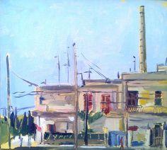 Tadeusz Deregowski, https://flic.kr/p/deRNgw | Housing near a factory, Lecce | Oil on card 13 x 15 cm  tadeuszderegowski.blogspot.com.