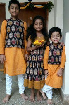 Latest Designs in Kalamkari Kalamkari art is the pride of India. These natural vegetable dyed fabrics represent Indian heritage and c. Frocks For Girls, Dresses Kids Girl, Kids Outfits, Kids Indian Wear, Kids Ethnic Wear, Kids Dress Wear, Kids Gown, Kids Wear, Kids Lehenga