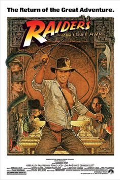 "Indiana Jones Raiders of The Lost Ark Movie Poster Whip Hat 27"" x 40"" 