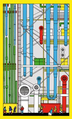 Illustraties van Maxime Modysset voor I love the Centre Pompidou. Renzo Piano, Centre Pompidou Paris, Georges Pompidou, Sign System, Art Drawings Beautiful, Green Architecture, Creative Posters, Paris Travel, Painting Patterns