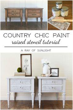 Lace Embossed End Tables #DIY #furniturepaint #paintedfurniture #chalkpaint #sidetable #endtable #texturepowder #lace #embossed #embossing #homedecor #shabbychic #countrychicpaint - blog.countrychicpaint.com