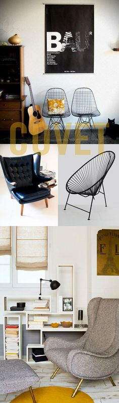 like this pair of awesome eames wire chairs, the very cool looking patio chair from la silla acapulco(i think i could even live with it indoors). and this big hunk of handsome black leather chair from rue and this gray one shot by pierre-jean verger — swoon!