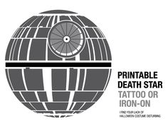 Printable Death Star tattoo or iron-on