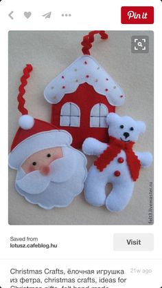 Resultado de imagem para ideas for felt christmas decorations Felt Christmas Decorations, Felt Christmas Ornaments, Noel Christmas, Handmade Christmas, Father Christmas, Christmas Things, Christmas Projects, Felt Crafts, Holiday Crafts