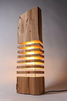 Moderne Beleuchtung Holz Lichtskulptur von SplitGrain auf Etsy