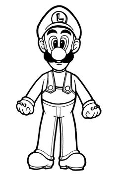 this is luigi from super mario bros i left out the colors for anyone who - Super Mario Luigi Coloring Pages