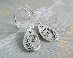 Fiddleheads, Artisan PMC Jewelry, Fine Silver Fern Earrings, SilverWishes Original and Exclusive