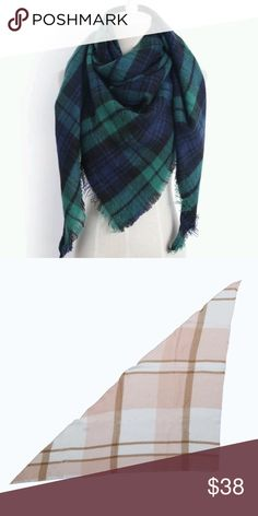 Plaid Triangle Scarf Warm and cozy navy blue and green plaid paterened scarf. Perfect to keep you warm and stylish this fall and winter.   75x55x55 in triangle. Diamonds & Jules Accessories Scarves & Wraps
