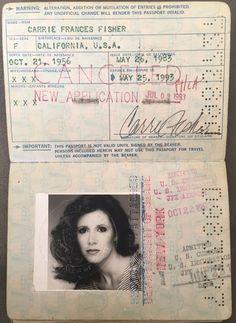 "Carrie Fisher Passport Star Wars ""Princess Leia"" was a world traveler in Entertainment Memorabilia, Autographs-Original, Movies, Photographs Star Wars 7, Star Wars Film, Star Wars Princess Leia, My Princess, Carrie Frances Fisher, Princesa Leia, I Miss Her, My Generation, Love Stars"