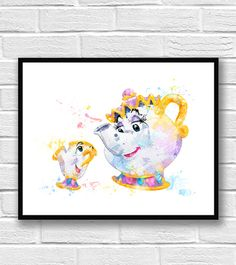 Mrs. Potts and Chip from Disney's Beauty and the Beast - teapot and tea cup.