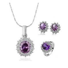 Romantic Platinum Plated Plant Crystal Jewelry Set for Women GPJS009 0