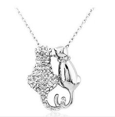 ad8e73ec0 Crystal Cats Necklace New Pendant Silver Charm Two Cats Jewelry Mothers Day