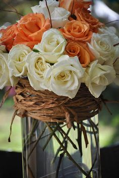 Orange and white roses with sticks... DIY