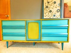retro painted dresser by booth 121