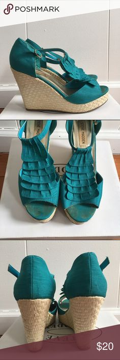 Teal Steve Madden sandals Teal Steve Madden wedged sandals. They are worn in on the inside of the shoes but in very good condition. Steve Madden Shoes Sandals