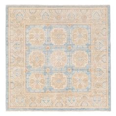 Herat Oriental Vegetable Dye Hand-Knotted Light Blue Area Rug