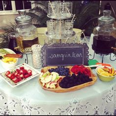 Sangria bar!.. when I get married my bridesmaids better have this for me shower! The Ganser family loves Sangria!!