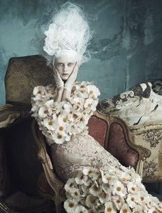 "Dolce & Gabbana supply the ""Opulence à La Marie Antoinette."" Shot by Luigi + Iango for Vogue Germany April 2014"