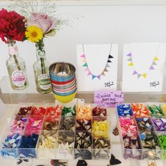 A colourful bunting buffet! Which colours will you choose to make your necklace? > https://www.tattydevine.com/jewellery-parties