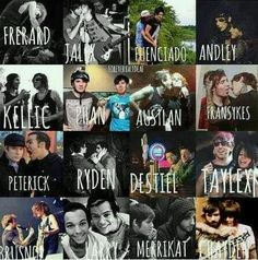 Out of these I ship: frerard, jalex, andley, kellic *#1 ship of all time*, austlan *#2 ship of all time*, phan, fransykes *omfggggg*, peterick, ryden, destiel, brusnop, and merrikat. Damn I have a lot of ships