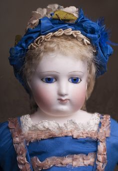 """16\"""" (40 cm) Early Antique French Fashion Bisque Poupee doll with Cobalt Blue Eyes,  by Barrois, c.1860."""