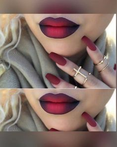 Red black ombré lip lipstick makeup goals matching lips and nails
