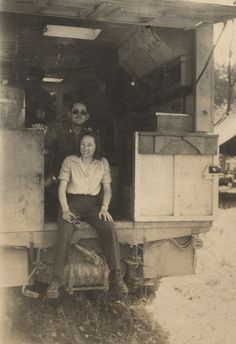 Harriett Pinkston Engelhardt with a male Red Cross worker in the back of the Clubmobile they are operating in Austria ~