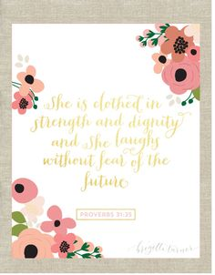 Bible Verse Wall Art Print  She is clothed in by brigetteturner, $14.50