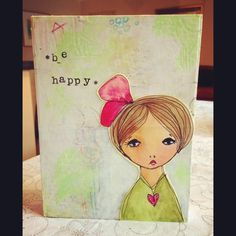Little mixed media board with collaged girl :)