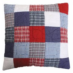 McKenzie Blue & Red Patchwork Quilted Pillow