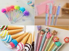 canetas fofinhas Stationary Store, Cute Stationary, Fun Crafts, Diy And Crafts, Crafts For Kids, Pen Toppers, Cute Pens, Paper Store, School Accessories