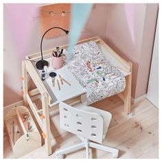 IKEA - FLISAT, Children's desk, adjustable, The desk can be adjusted to three different heights, so it can be used for homework or arts and crafts for many years. The desktop can be tilted to help your child vary their work posture. Ikea Childrens Desk, Drawing Paper Roll, Trofast Ikea, Ikea Desk, Ikea Chairs, Adjustable Desk, Kid Table, Storage Bins, Kids Bedroom