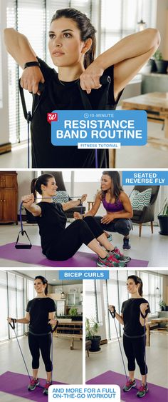 Get a beach-ready body with our quick on-the-go workouts: effective resistance band exercises to tone your abs, arms, back & lower body in just 10 minutes. Add a plank position to strengthen your abs: 1) Place hands under shoulders on the ground underneath you, hip-width apart. 2) Straighten body & keep core tight in a table position. 3) Hold for 30 seconds. Click to download the Walgreens app and start tracking your steps today!