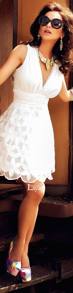white short summer dress @roressclothes closet ideas women fashion outfit clothing style apparel