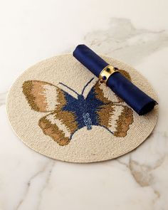 Butterfly+Placemat,+Royal+Napkins,+&+Jewel+Napkin+Rings+by+Divine+Designs+at+Neiman+Marcus.