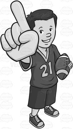 Man Carrying A Giant Cheer Foam Hand And Football #athlete #fan #fanmerchandise #football #fun #giantfoamhand #grayscale #greyscale #guy #jersey #looker #male #maleperson #man #play #pump #recreation #shorts #single #somebody #someone #spectator #spectatorpump #sport #sports #sportsfan #sportsjersey #viewer #watch #watcher #watching #vector #clipart #stock