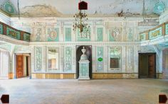 Abandoned grand room with great plaster work. Derelict Places, Plaster, Abandoned, Taj Mahal, Mansions, House Styles, Building, Room, Travel