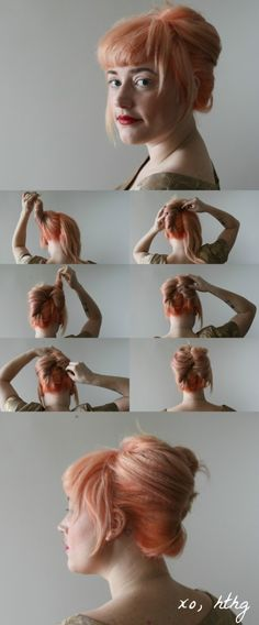 How-To Hair Girl | JBF Rolls - double French twist (also great pastel peach hair color)