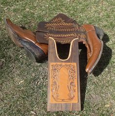 Vintage Western Tooled Leather And Wood Western Boot Jack Cowboy Boot Remover