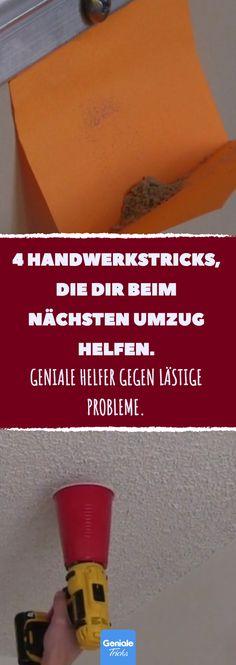 4 Handwerkstricks, die dir beim nächsten Umzug helfen. #umzug #lifehack #lifehacks #haushalt #bohren #wohnung #bilder #lampe #heimwerken