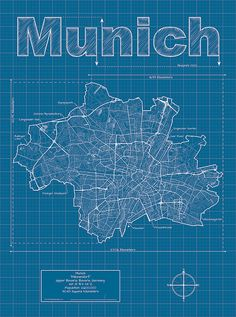 Munich Artistic Blueprint Map by MapHazardly on Etsy